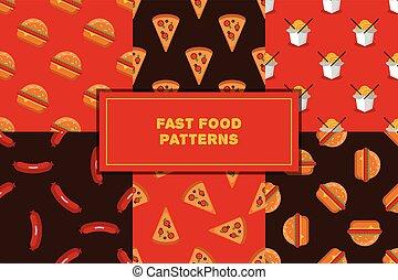 Vector set of geometric flat fast food seamless patterns