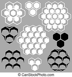 Vector set of geometric patterns with honeycombs for design