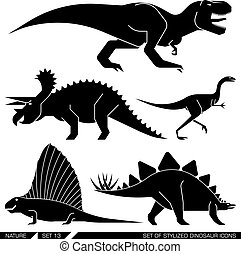 Vector set of geometrically stylized dinosaur icons.