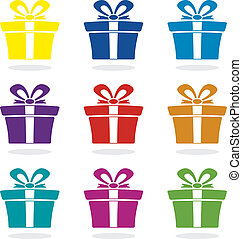 vector set of gift box icons