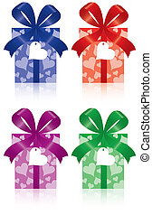 gift boxes with bow, ribbon and lab