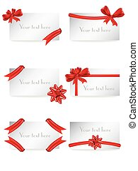 Vector set of gift card notes with red bows