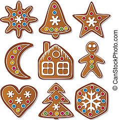 set of gingerbread cookies - vector set of gingerbread...
