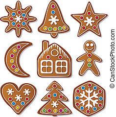 vector set of gingerbread cookies