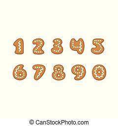Vector set of gingerbread cookies numbers