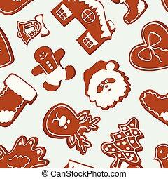Vector set of gingerbread cookies pattern. Vector illustration, EPS 10