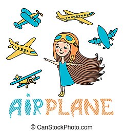 Vector set of girl and planes
