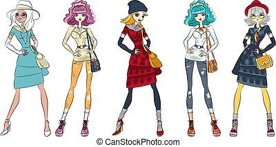 Vector Set of girls top models