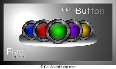 Vector set of glass buttons.