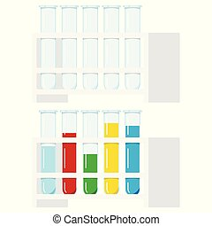 Vector set of glass test tubes clear, with multi-colored ...