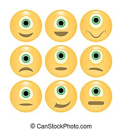 Vector set of glossy Emoticons.
