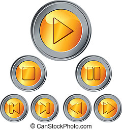 vector set of gold and silver button