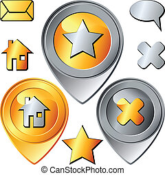 vector set of gold and silver pin-pointer