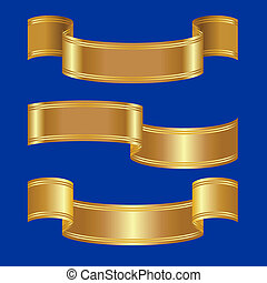 vector set of gold bands on a blue background