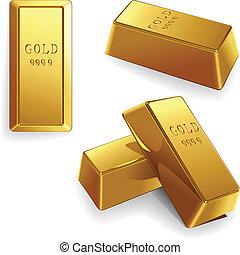 vector set of gold bars