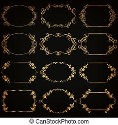 Vector set of gold decorative borders, frame - Vector set of...