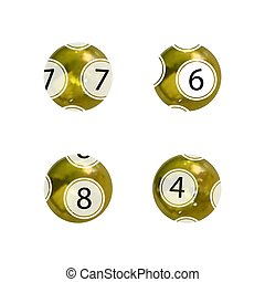 Vector Set of Gold Lottery Balls, Shiny Balls Isolated on White Backgrond, Gambling, 3D Icons.