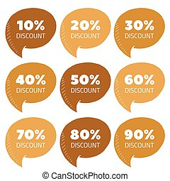 Vector set of gold percent discount speech bubble, sale illustration