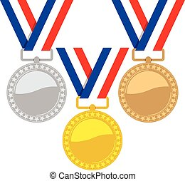 vector set of gold, silver and bronze medals