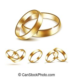 Vector Set of Gold Wedding Rings Isolated