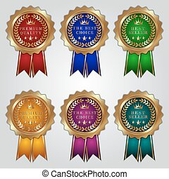 Vector set of golden badges with color ribbons and best choice, premium quality, bestseller text