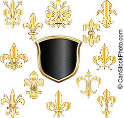 Fleur-de-lis and shield
