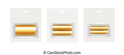 Vector Set of Golden Glossy Alkaline AA, AAA, C Batteries in Transparent Gray Blister Packed for branding Close up Isolated on White Background