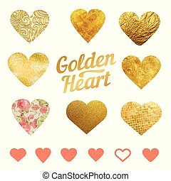 Vector set of golden hearts. For wedding decorations or on St. Valentine's day