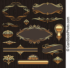 Vector set of golden ornate page decor elements: banners, frames, deviders, ornaments and patterns on dark wood background