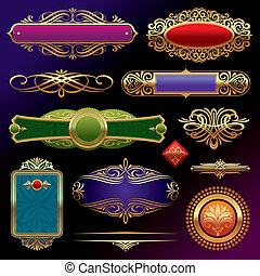 Vector set of golden ornate page decor elements: banners, frames, deviders, ornaments and patterns on dark background