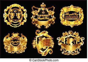 Vector set of golden royal stickers or emblems