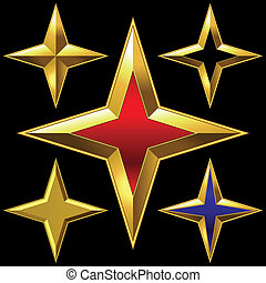 Vector set of golden shiny four-point stars