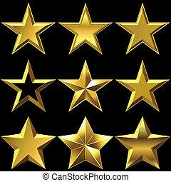 Vector set of golden shiny stars bulk - volume shiny gold...