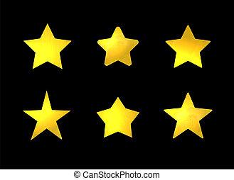 Vector Set of Golden Stars, Shining Marks Set Isolated.