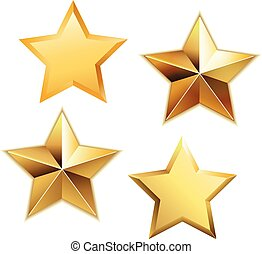 Vector set of golden stars .