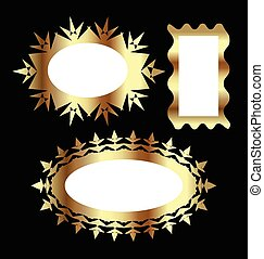 Vector Set of golden vintage frames