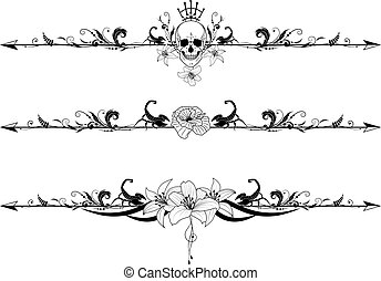 vector set of gothic borders with cranium, scorpions and flowers