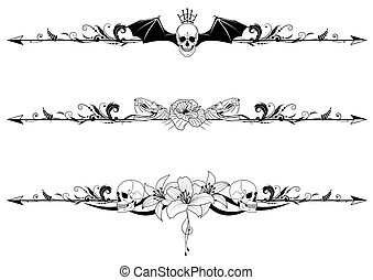 vector set of gothic borders with craniums and flowers