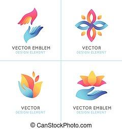 Vector set of gradient logo design elements and emblems on ...