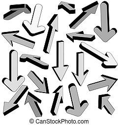 Vector set of gray arrows