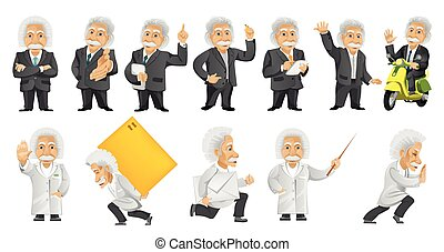 Vector set of gray-haired old man illustrations.