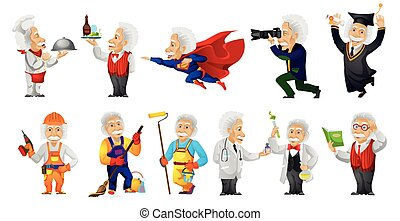 Vector set of gray-haired old man wearing uniforms of different professions such as chef, waiter, superman, carpenter, cleaner, painter, doctor. Vector illustration isolated on white background.