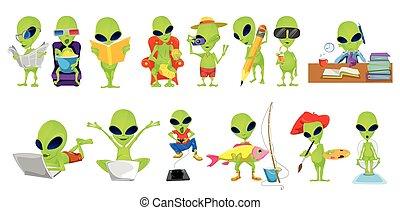 Vector set of green aliens hobby illustrations. - Set of...