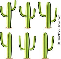vector set of green desert cactuses