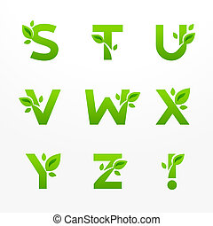 Vector set of green eco letters logo with leaves. Ecological...