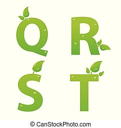 Vector set of green eco letters logo with leaves