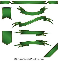 Vector set of green ribbon and banners. Isolated on white.