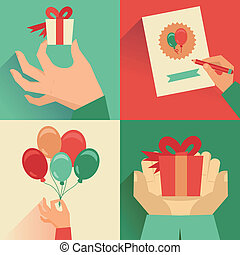 Vector set of greeting card in flat