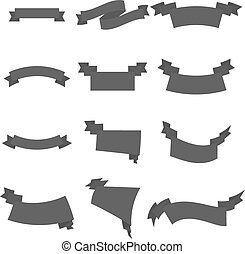 Vector set of grey business ribbons vintage style