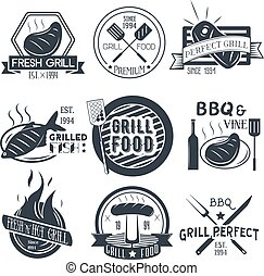 Vector set of grill and bbq labels in vintage style. Design elements, icons, logo, emblems, badges isolated on white background.